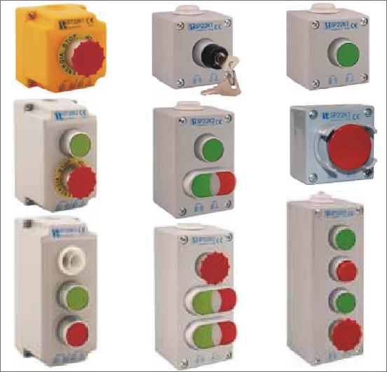 Посты кнопочные управления ST22-, SP22-. 10А, 600В, IP65. Посты кнопочные комплектуемые от СПАМЕЛ.