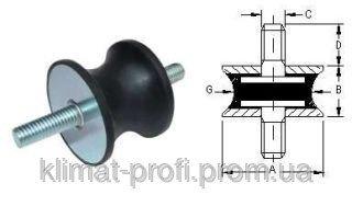 Купить Резиновые виброопоры, тип GVV 25х20 60sh М 6х16 мм