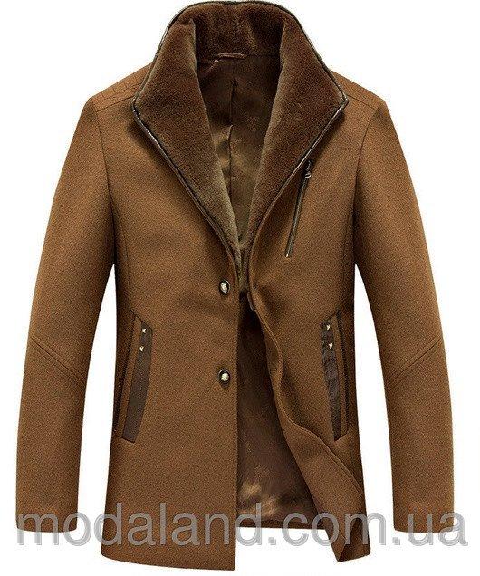 Чоловіче зимове вовняне пальто з хутром. . Чоловіче пальто осінь-зима. 095f7a811d631