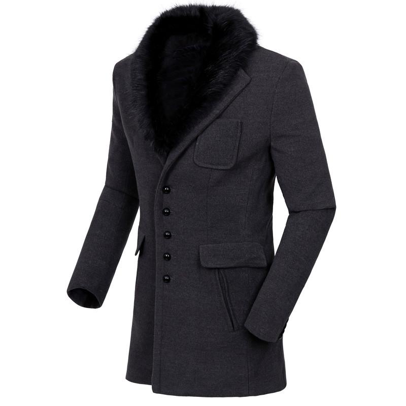 Чоловіче зимове вовняне пальто з хутром.Чоловіче пальто осінь-зима ... c63127b61483a