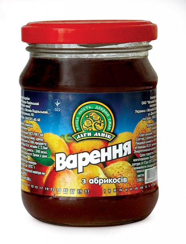 Варенье Тм Дари Ланив абрикосовое 360 гр стеклянная банка ЭКСПОРТ
