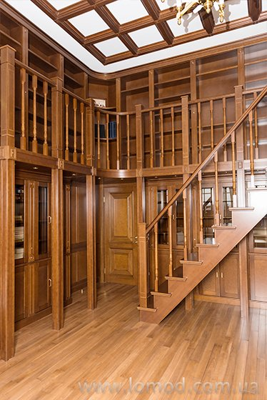 Wooden bookcase. Library.