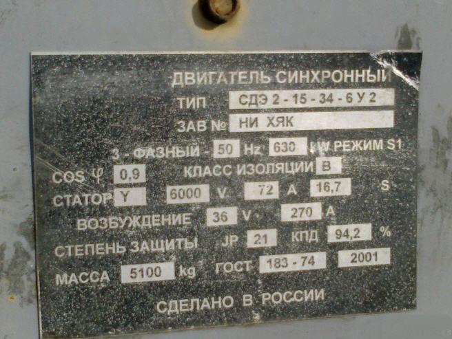 Электродвигатели синхронные для приводов экскаваторов типа СДЭ2-15-34-6