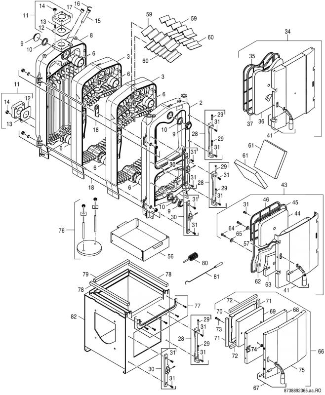 Купить Котёл чугунный твёрдотопливный Bosch с авто подачей топлива, пеллет, угля, щепы 25кВт