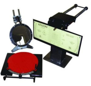 The laser stand for check of installation of wheels of the Vision car