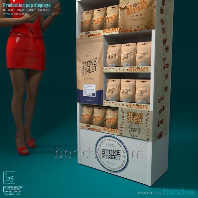 Торговые стойки для кофе в магазин