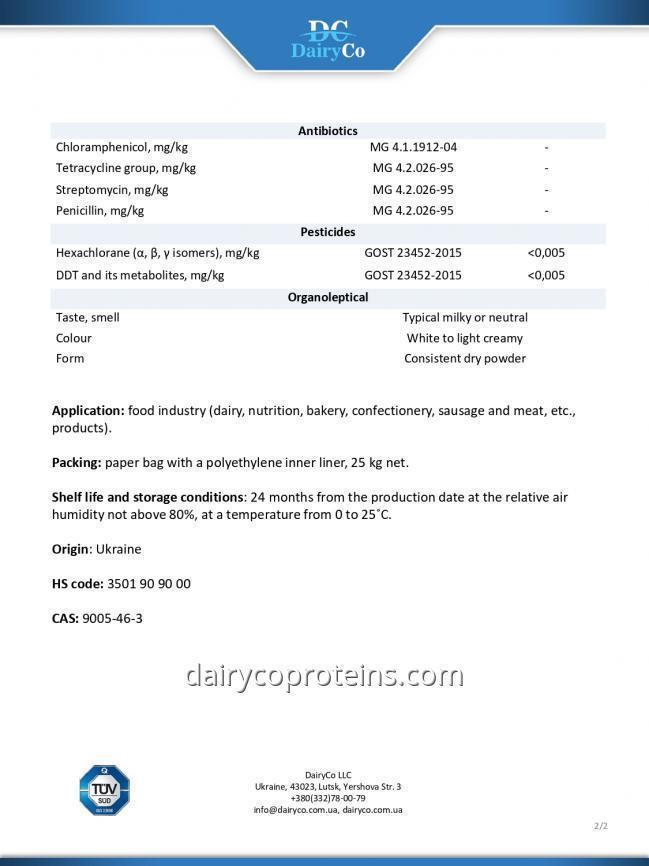 Sodium caseinate Specification DairyCo 2
