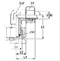 Резьбовое соединение с впресованной гайкой, резьба метрическая, под углом 90 градусов, с уплотнением, для спецтехники и промышлености