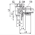Резьбовое соединение, бесдроссельное, под углом 90 тградусов, резьба метрическая, бывает с уплотнением