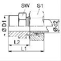 Резьбовое соединение, приварное, резьба метрическая, для спецтехники и промышлености