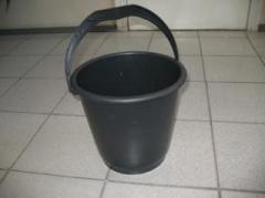 Bucket of 10 l black polyethylene