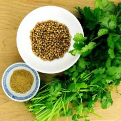 The coriander is ground