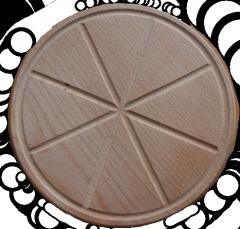 Wooden support under pizza from razdelela under 8