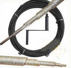 Cable sanitary for cleaning of sewer pipes.