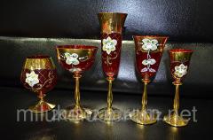 Стаканы красные с золотом роспись Код: 01241-01245