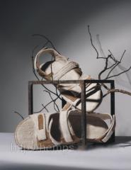 Footwear from hemp. Barefoot persons man's