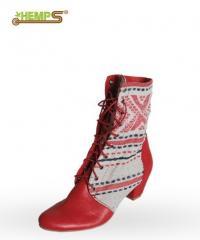 Етно. Обувь из льна. Этно-обувь, ботинки женские