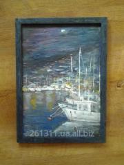 """Картина """"Морской пейзаж, ручная работа,"""