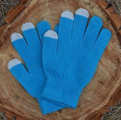 Вязаные перчатки для сенсорных экранов, синие