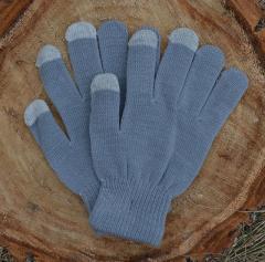 Вязаные перчатки для сенсорных экранов, серые
