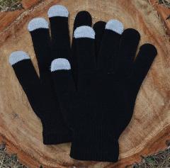 Вязаные перчатки для сенсорных экранов, черные