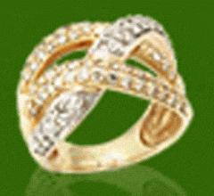 Кольцо золотое украшеное фианитами