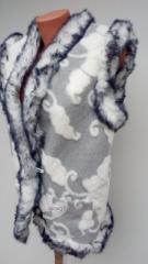 Vest leather, female, black 62