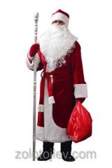 Костюм Дед Мороз бордовый с меховой бородой