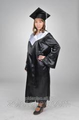 Graduate's cloak black and white collar