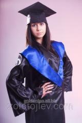 The graduate's cloak black with blue collar