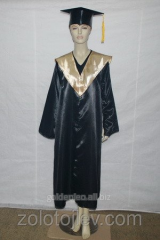 The master's cloak black with gold collar