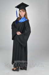The master's cloak black with blue collar