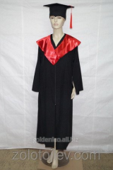 The graduate's cloak black with red collar