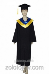 The graduate's cloak with blue-yellow collar