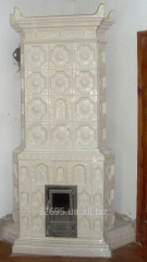 Furnace white tiled (tile). Tiles ceramic for