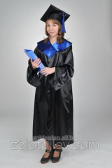 The bachelor's cloak black with blue hire