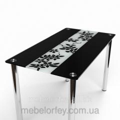 Стеклянный обеденный стол Цветы рая черно-белый