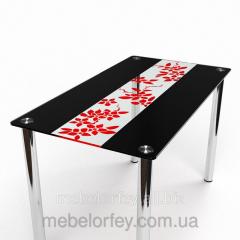 Стеклянный обеденный стол Цветы рая красно-черный