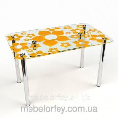 Стеклянный обеденный стол Цветение-2 БЦ-Стол
