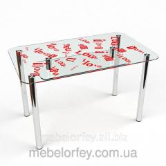 Стеклянный обеденный стол С любовью 2 БЦ-Стол