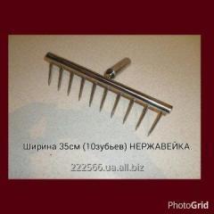 Rake manual of stainless steel 35 cm wide.
