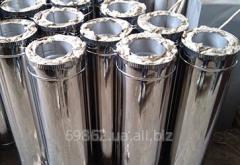Дымоход из металла 0,8 мм AISI 316L утепленный в зеркальной нержавейке