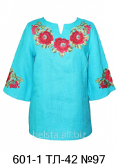 Blouse with 100% flax embroidery