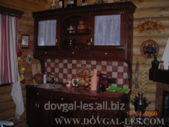 Кухни с отделкой из дерева для дачных домов,...