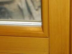Pine windows, windows from a natural pine, a