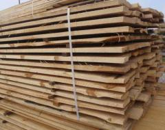 Unedged board for construction from pine, fresh