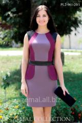 Платье PL2-961 французский трикотаж+кожзам