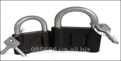 Padlock of black color of the different sizes