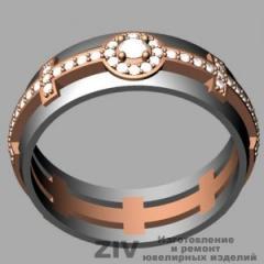Кольцо обручальное золотое с бриллиантами на