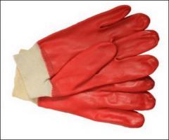 Перчатки из ПВХ красного цвета с резинкой